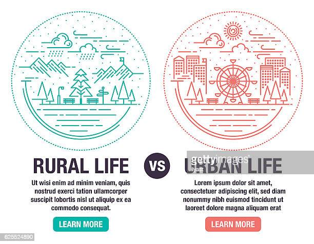 rural and urban life - human settlement stock illustrations