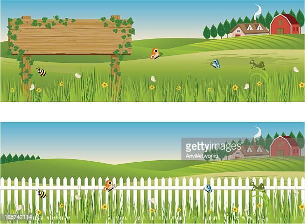 ilustrações, clipart, desenhos animados e ícones de banners rural - cercado com estacas