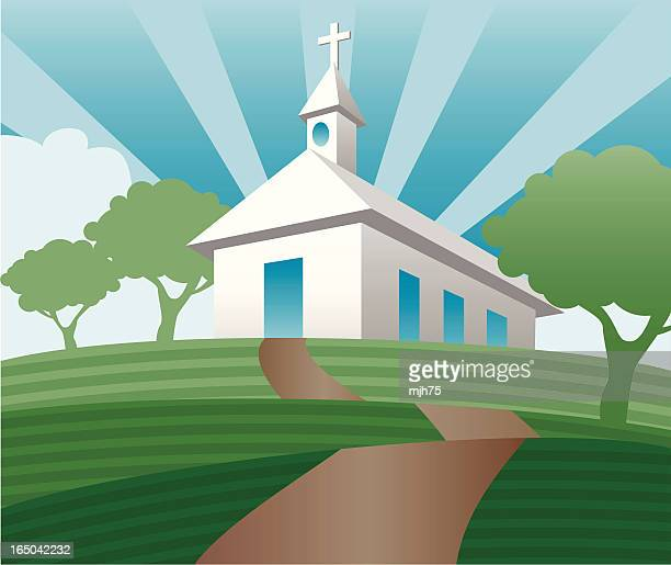 rural church on a hill - steeple stock illustrations, clip art, cartoons, & icons