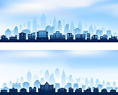 Rural City skyline panoramic banners with modern skyscrapers