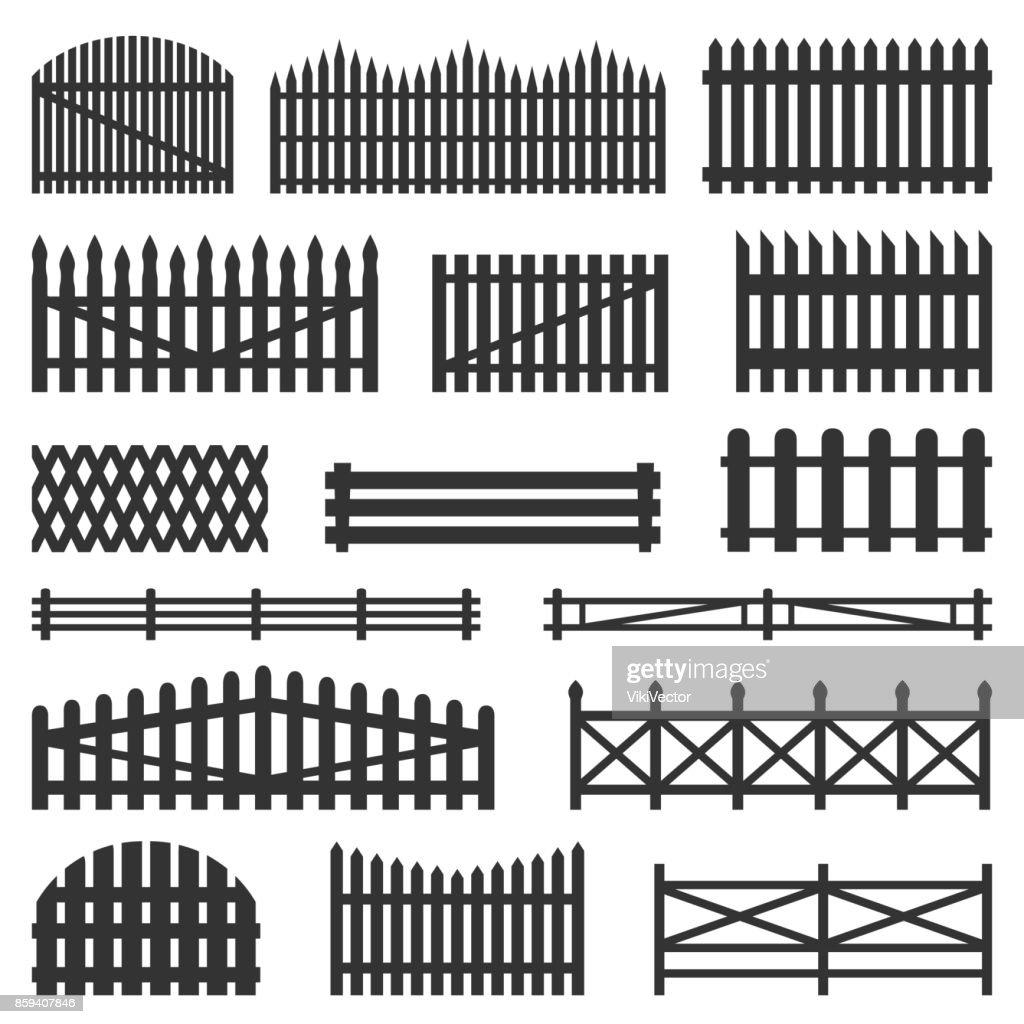 Rural fences wooden set