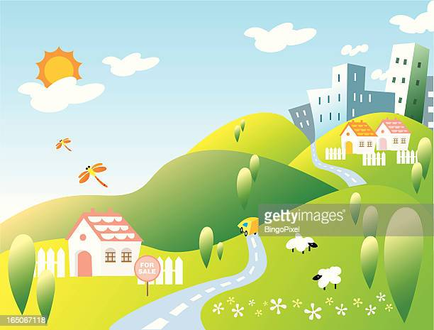 Rural Home and City on Hills Landscape