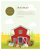 Rural landscape and farm animal background 2