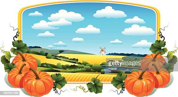 ilustrações, clipart, desenhos animados e ícones de paisagem rural e abóboras - vegetais
