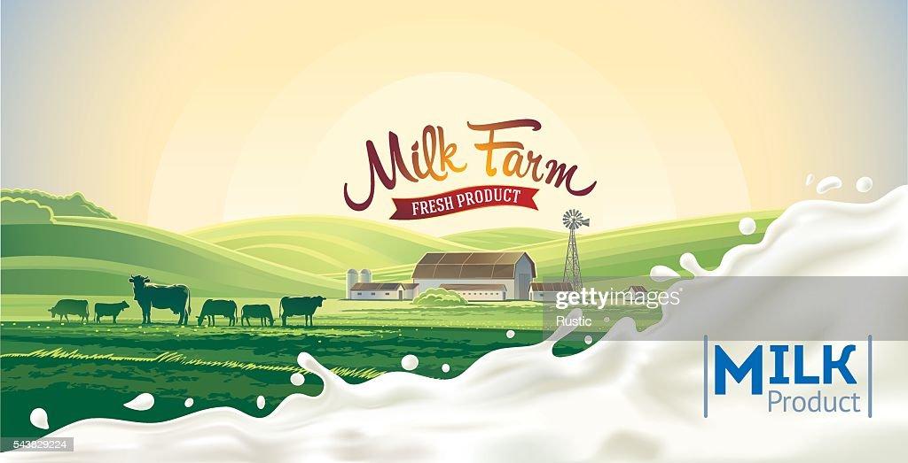 Rural landscape and splash milk.