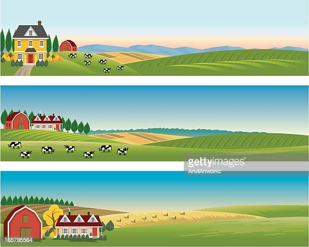 rural landscape banners - farm stock illustrations