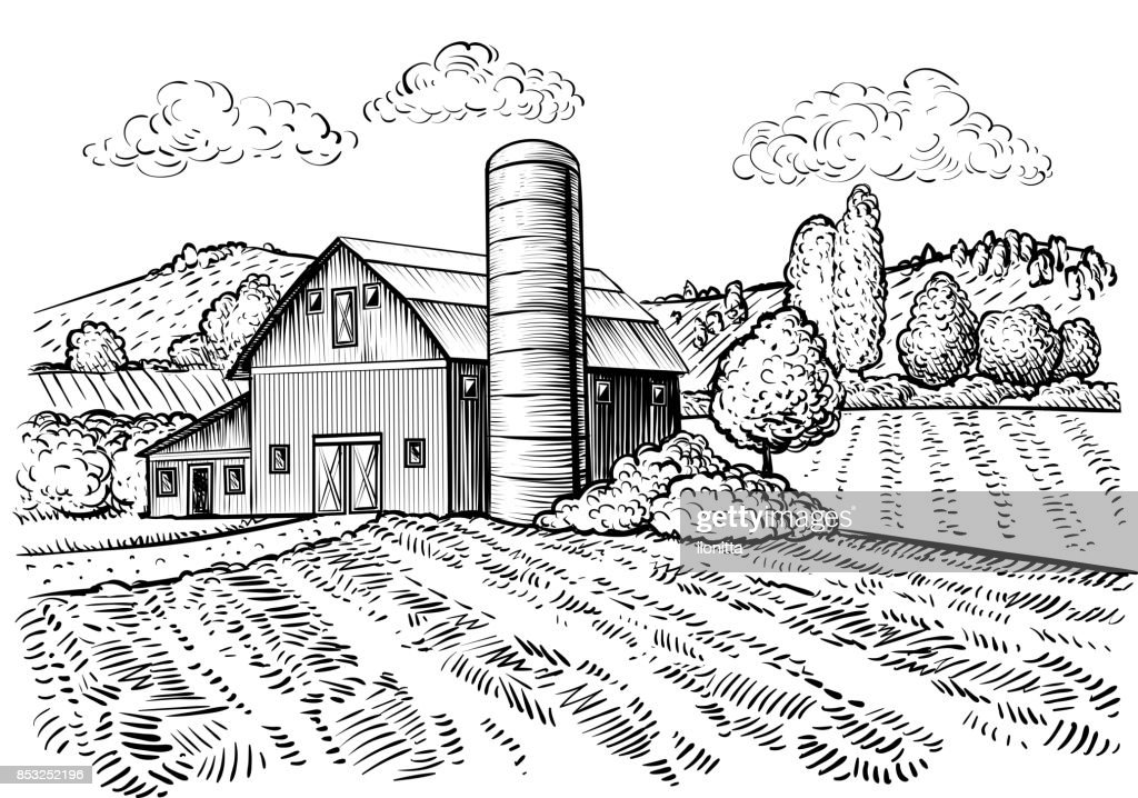 Rural landscape, farm barn and windmill sketch