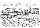 Rural landscape, handdrawn inked sketch style illustration