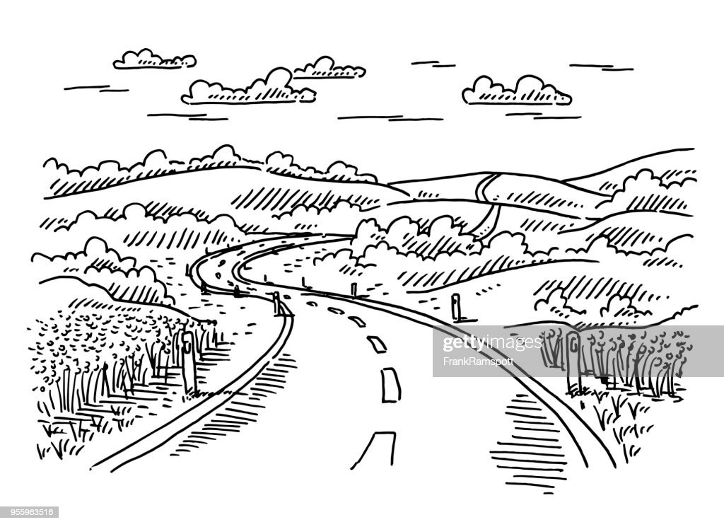 Rural Landscape Road Drawing High Res Vector Graphic Getty Images