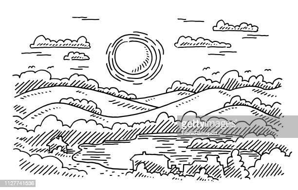 Kulturlandschaft Sonnenschein See Natur Zeichnung