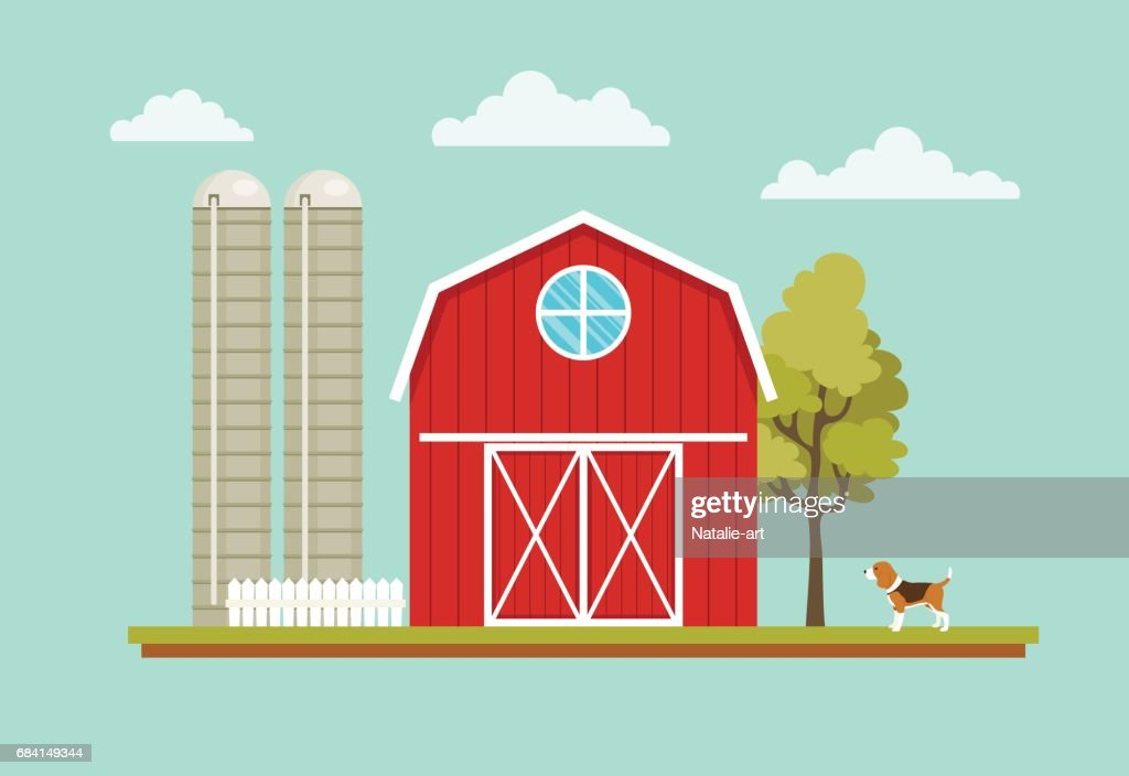 Rural landscape with a barn house