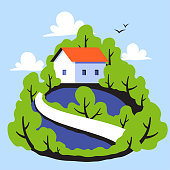 Rural landscape with cute small house on background of green leafy forest
