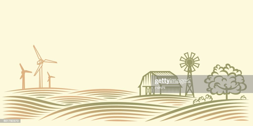 Rural landscape with fields, barn, trees and wind turbine.