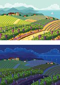 Rural landscapes. Day and night.