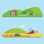 Rural landscapes with fields, hills, and tractor