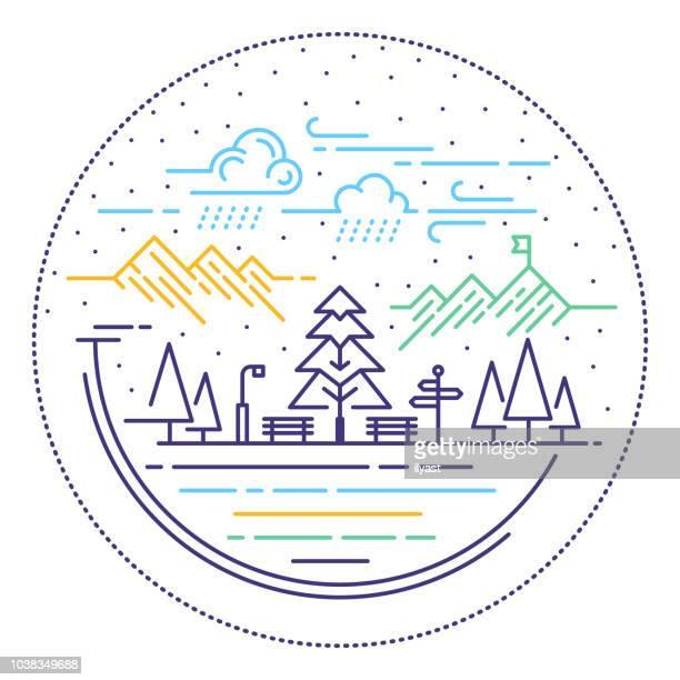 ilustraciones, imágenes clip art, dibujos animados e iconos de stock de escena rural línea web banner - banco del parque