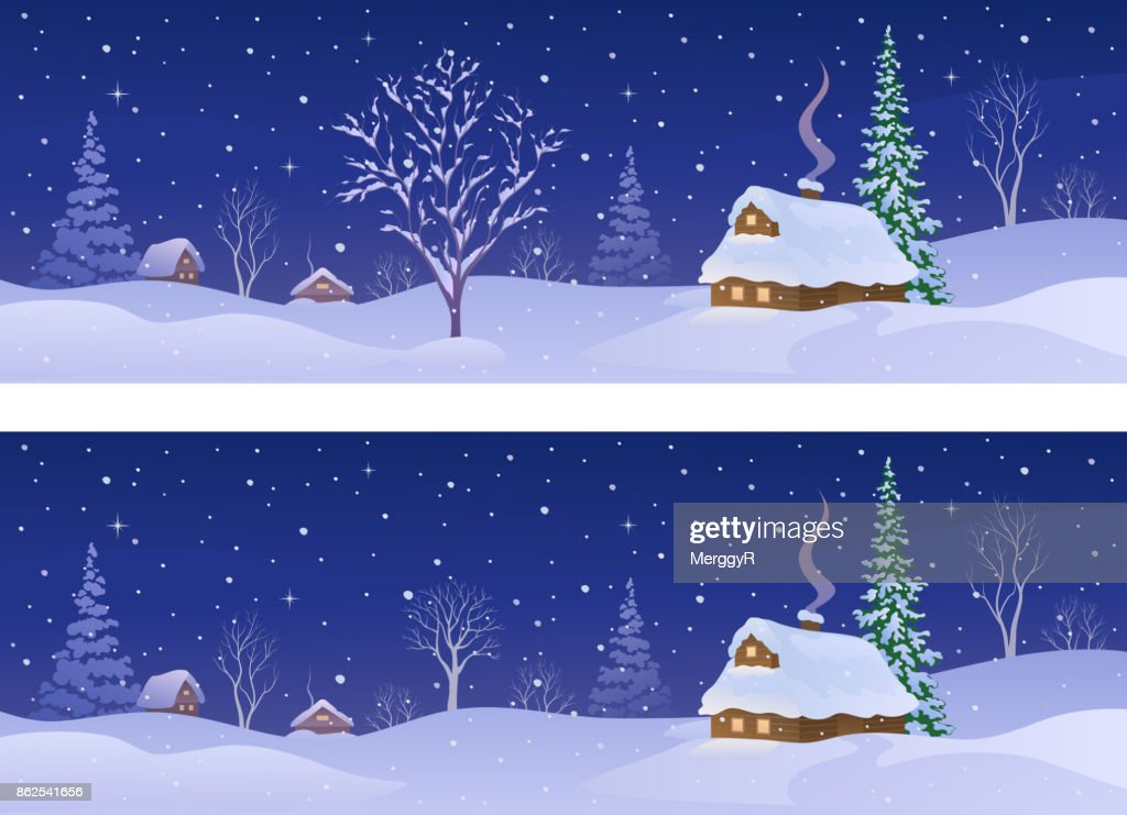 Rural winter night banners
