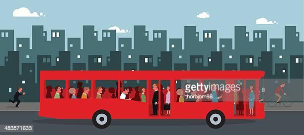 rush hour - bus stock illustrations