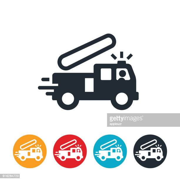 rushing fire engine icon - fire engine stock illustrations, clip art, cartoons, & icons