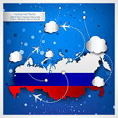 Russia air travel abstract background