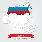 Russia. All the countries of Asia. Flag version.