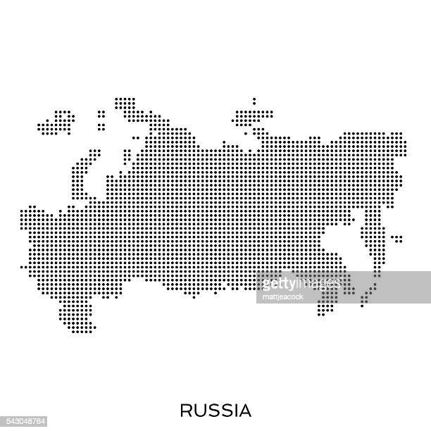 russia dot halftone pattern map - russia stock illustrations