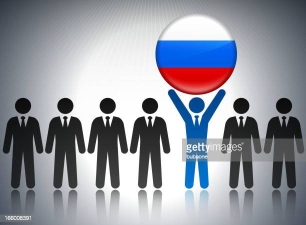 russia flag button with business concept stick figures - governor stock illustrations, clip art, cartoons, & icons