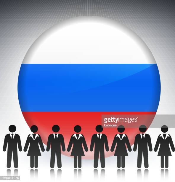 Russia Flag Button with Business Concept Stick Figures