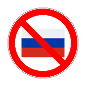 russia flag in prohibition sign