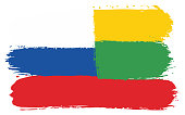 Russia Flag & Lithuania Flag Vector Hand Painted with Rounded Brush