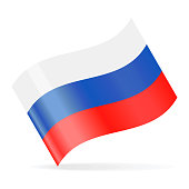 Russia Flag Vector Waving Icon