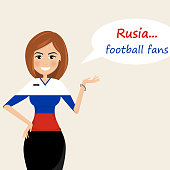 Russia football fans.Cheerful soccer fans, sports images.Young woman,Pretty girl sign.Happy fans are cheering for their team.Vector illustration