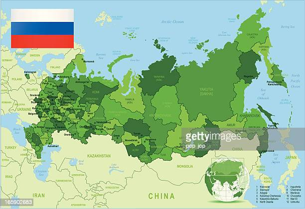 russia - green highly detailed map - former soviet union stock illustrations
