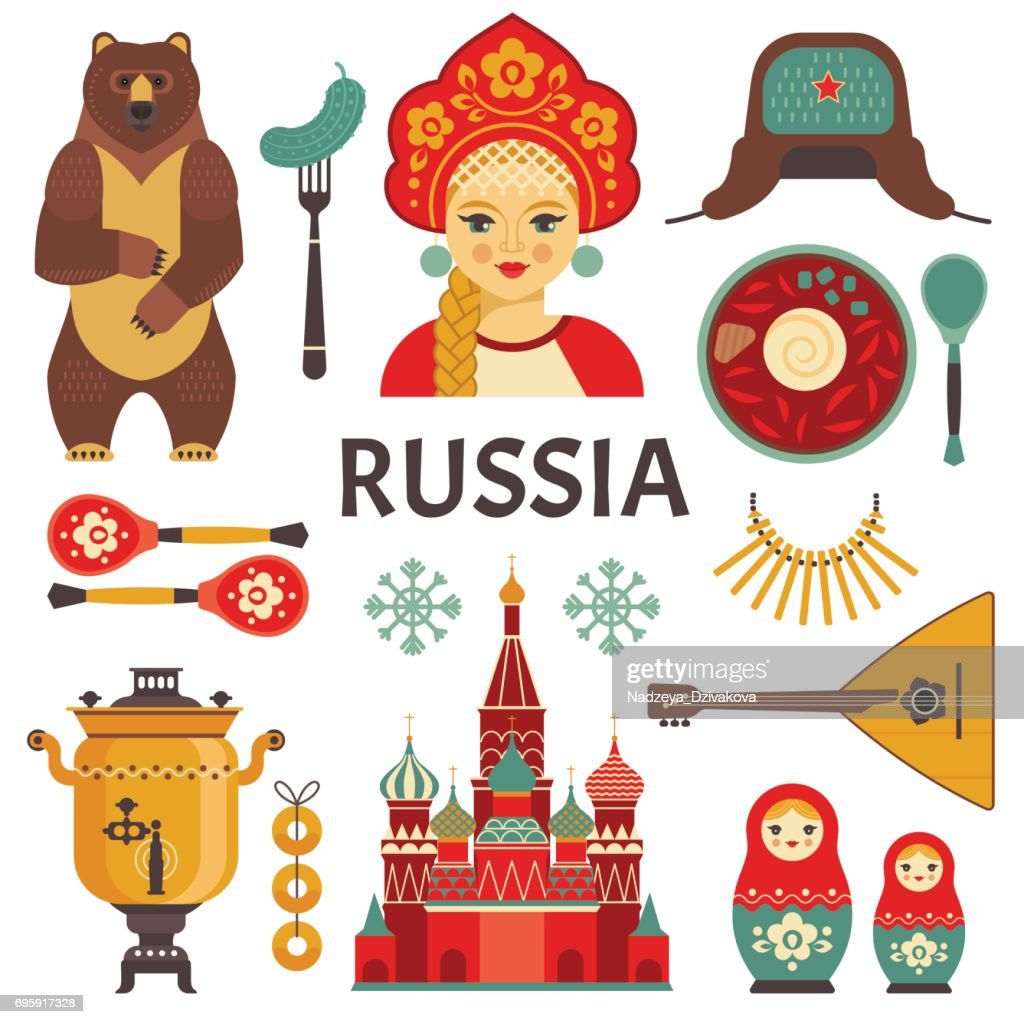 Russia icons set.
