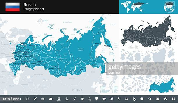 russia - infographic map - illustration - russia stock illustrations