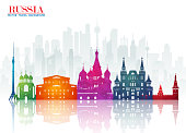 Russia Landmark Global Travel And Journey paper background. Vector Design Template.used for your advertisement, book, banner, template, travel business or presentation.