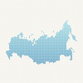 Russia Map Blue Dot Pattern
