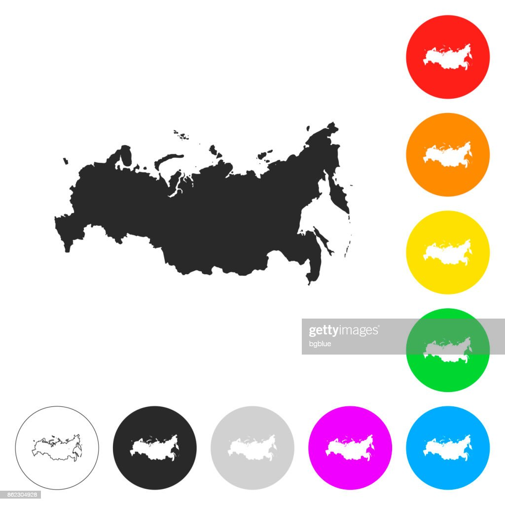 Russia map - Flat icons on different color buttons