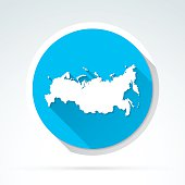 Russia map icon, Flat Design, Long Shadow