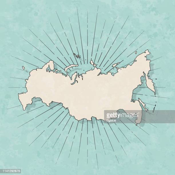 russia map in retro vintage style - old textured paper - eurasia stock illustrations