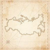 Russia map in retro vintage style - old textured paper