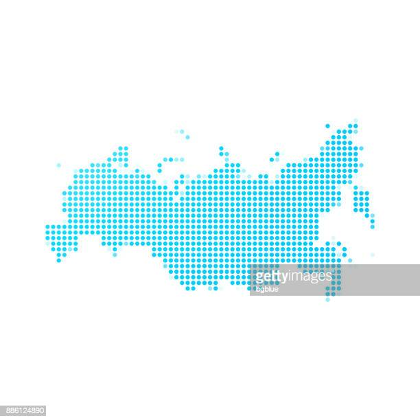 russia map of blue dots on white background - russia stock illustrations
