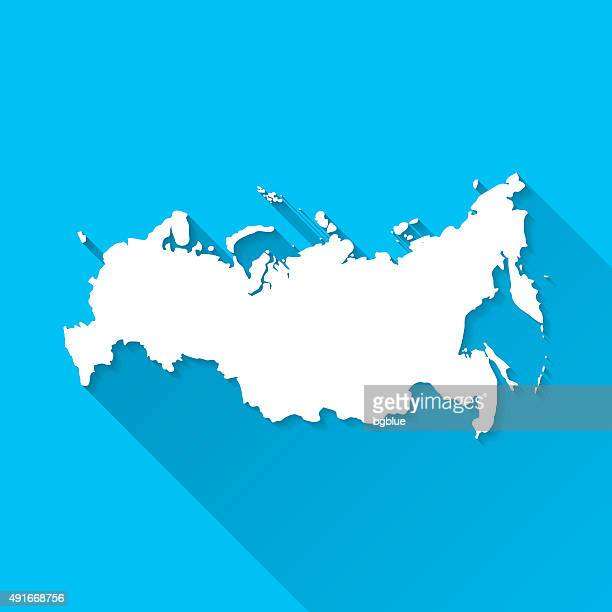 russia map on blue background, long shadow, flat design - country geographic area stock illustrations, clip art, cartoons, & icons