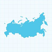 Russia map on blue background with grid