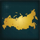 Russia map on dark background with grid and markers