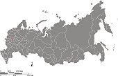 Russia map outline vector with scales of miles and kilometers