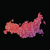 Russia Map Triangle Pattern Orange