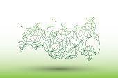 Russia map vector of green color geometric connected lines using triangles on light background illustration meaning strong network