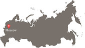 Russia map vector outline with capital city Moscow location and name labeled gray background. Highly detailed accurate map of Russia