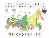 Russia map with flag and navigation icons